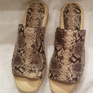 Never worn snake leather flat espadrilles.